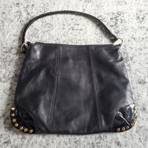 NWOT Italian Leather Shoulder Bag w Studded Detail
